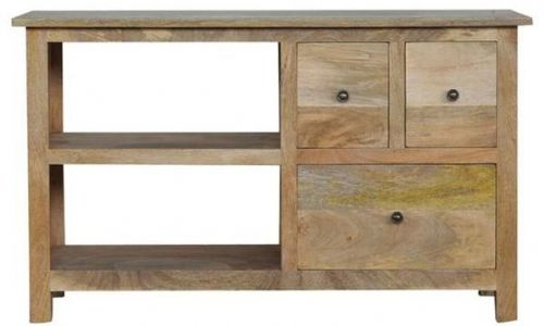 Mango Wood TV stand With 3 Drawers And 2 Shelves